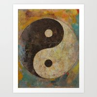 yin yang Art Prints featuring Yin Yang by Michael Creese
