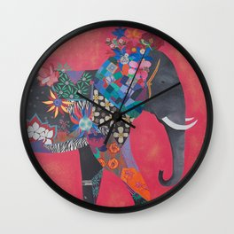 PINK ELEPHANT I Wall Clock