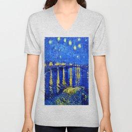 Starry Night Over Rhone Unisex V-Neck