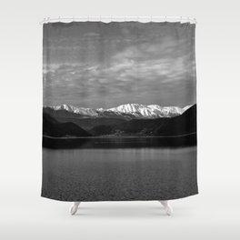 Winter Monochrome Lake Shower Curtain