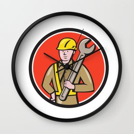 Construction Worker Spanner Circle Cartoon Wall Clock