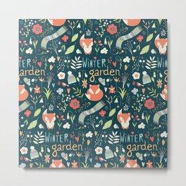Winter garden pattern 001 Metal Print
