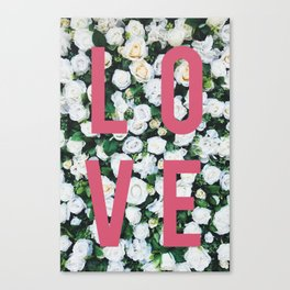 LOVE White Rose Floral Poster Canvas Print