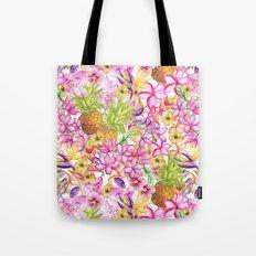 Tropical flower and pineapple watercolor art Tote Bag