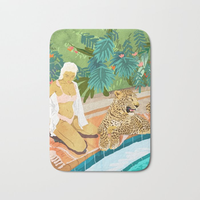 The Wild Side, Human & Nature Connection, Woman With Cheetah Cat, Tiger Painting Bath Mat