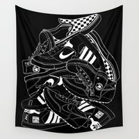 sneakers Wall Tapestries featuring Sneakers Illustrations (Black) by Hello