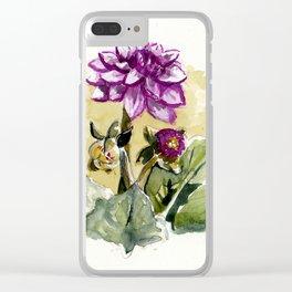 Watercolour Dhalia Clear iPhone Case