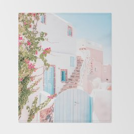 Santorini Greece Mamma Mia Pink House Travel Photography in hd. Throw Blanket