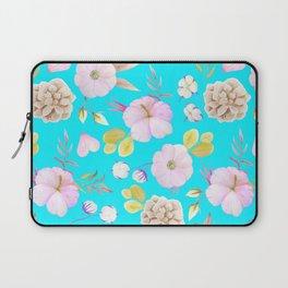 Artist hand painted pink lavender teal watercolor floral Laptop Sleeve