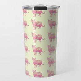 Burmese Cat Vintage Floral Pattern Pink Cream Shabby Chic Travel Mug