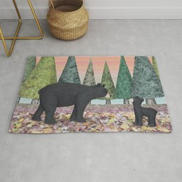 black bears & evergreens Rug