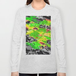 psychedelic splash painting abstract texture in in green yellow black Long Sleeve T-shirt