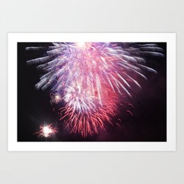 Purple Bright Fireworks at Night Photograph Art Print