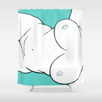 teal Shower Curtains featuring Teal by bloozen
