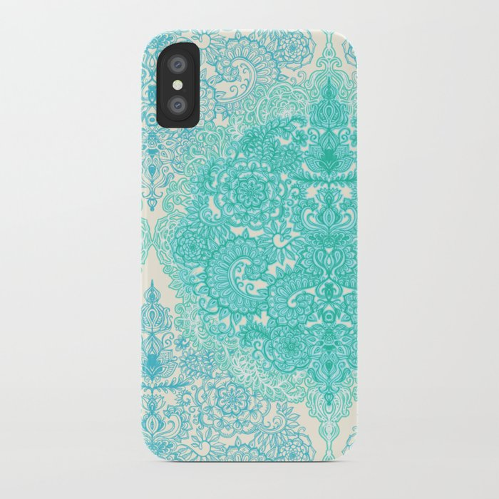 Happy Place Doodle in Mint Green & Aqua iPhone Case