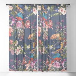 FLORAL AND BIRDS XII Sheer Curtain