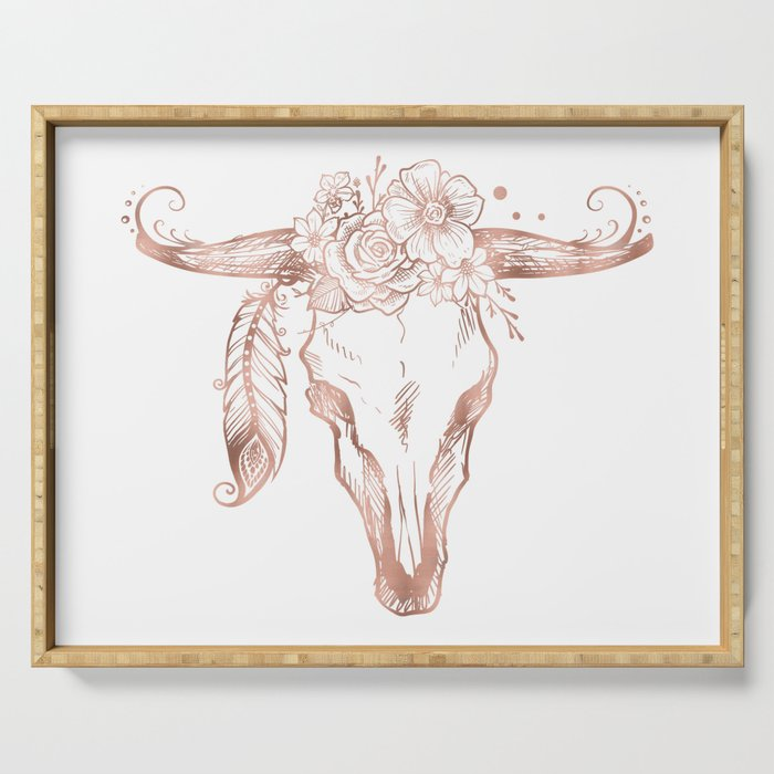 Rose Gold Bull Skull with Pink Feather Flowers Serving Tray