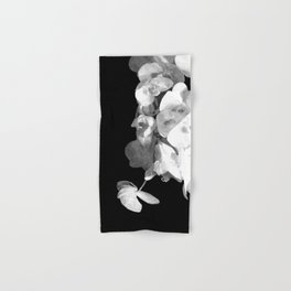 White Orchids Black Background Hand & Bath Towel