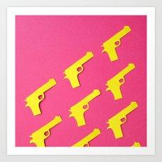 Guns Papercut Art Print