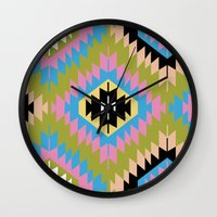 kilim Wall Clocks featuring Modern Kilim by Alisse Courter