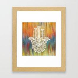 Colorful White Golden Hamsa Hand Framed Art Print