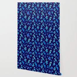Sea Creatures | Cyan, Navy Blue Marine Animals Pattern Wallpaper