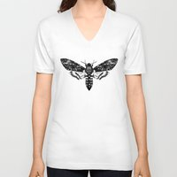 moth V-neck T-shirts featuring Moth by Jimmy Breen