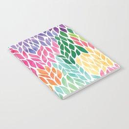 Rainbow Watercolor Leaf Teardrop Pattern Notebook
