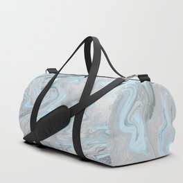Ice Blue and Gray Marble Duffle Bag