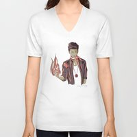 zayn V-neck T-shirts featuring Zayn Firebender by thestoryischanging