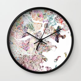 Boston map Wall Clock