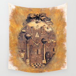 Symbols of the Freemasons Wall Tapestry