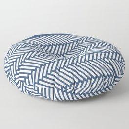 Herringbone Boarder Navy Floor Pillow