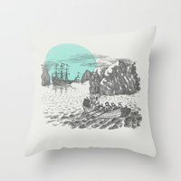 pirates Throw Pillows featuring Pirates by Zeke Tucker