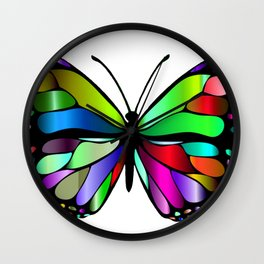 Butterfly Body Glass Mosaic Insect Rainbow Open Wings Wall Clock