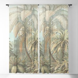 Vintage Tropical Palm Sheer Curtain