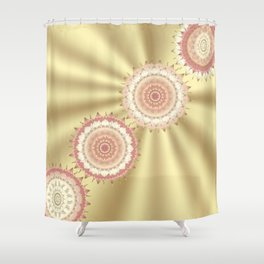 Delicate Mandalas on Gold Shower Curtain