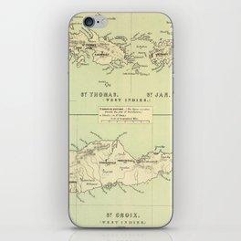 Vintage Map of The Virgin Islands (1853) iPhone Skin
