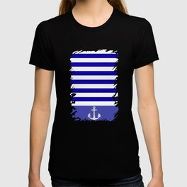 Blue And White Stripes Anchor T-shirt