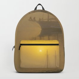 New England Ghost Sailing Ship in Fog Print Backpack