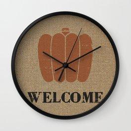 Stamped look Pumpkin Welcome against digital burlap background Wall Clock