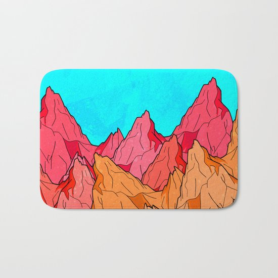 The Red and Orange Mounts Bath Mat