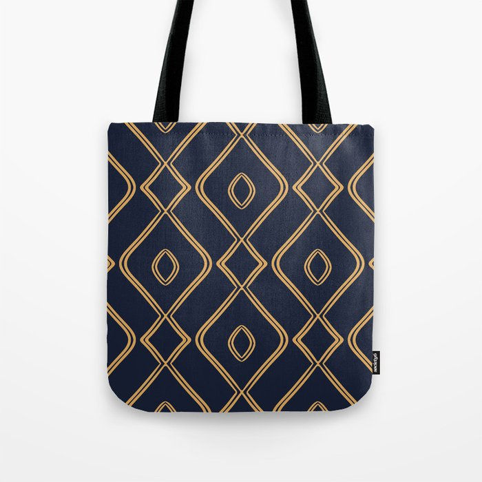Modern Boho Ogee in Navy & Gold Tote Bag