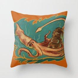 Squid & Tiki Throw Pillow