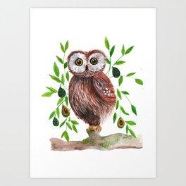 Owl with avocado illustration Art Print