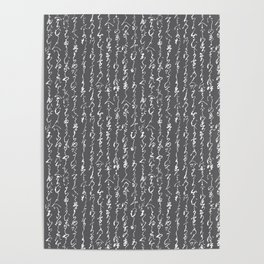 Ancient Japanese Calligraphy // Charcoal Poster