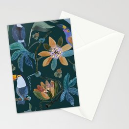 Pattern with toucans and passiflora 3 Stationery Cards