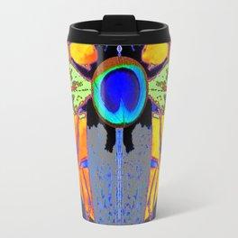 MYSTIC BLACK  BEETLE BLUE PEACOCK MOON ART Travel Mug