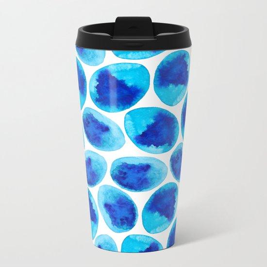 Blue Abstract Metal Travel Mug
