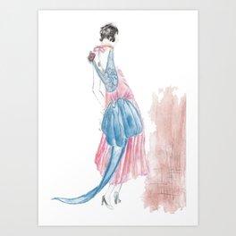 1920's Fashion Lady Sketch  Art Print